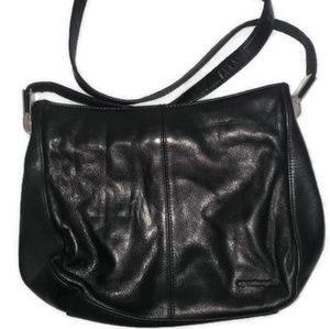 Apostrophe black soft shoulder bag
